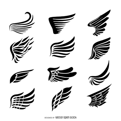 Wings label logo template set
