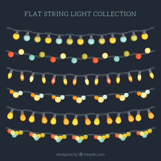 Variety of colorful bulbs in strings