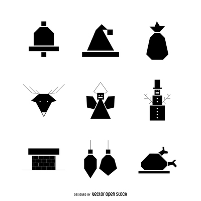 Geometric Christmas icon silhouette pack