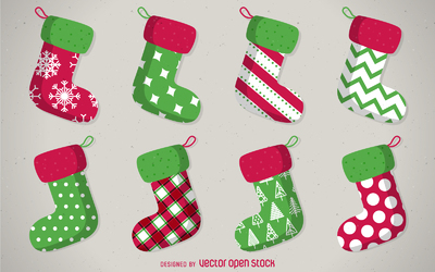 Isolated Christmas stocking set