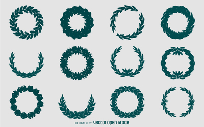 Christmas wreath silhouette set