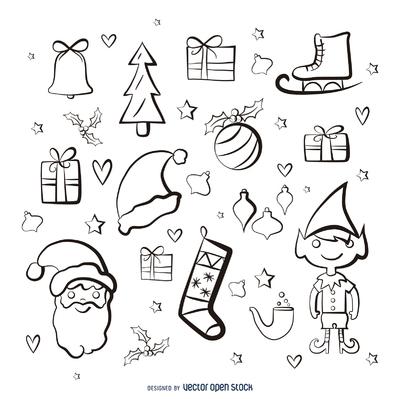 Christmas elements paint stroke set