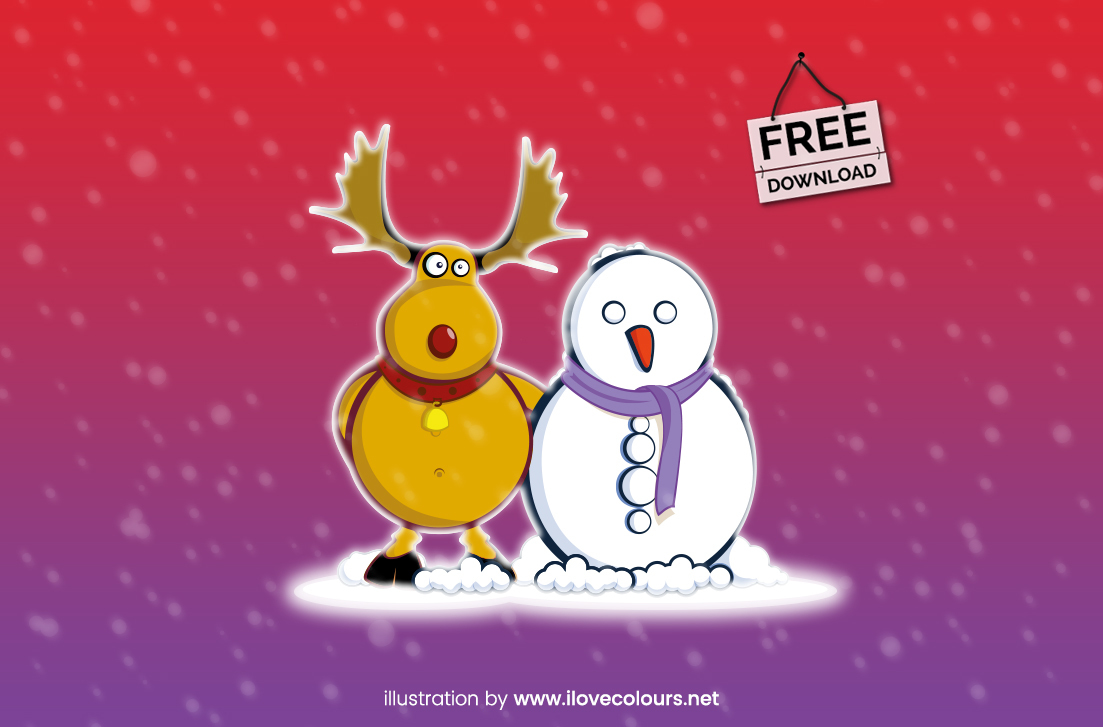 christmas illustration - moose and snowman - xmas graphic - free vector download