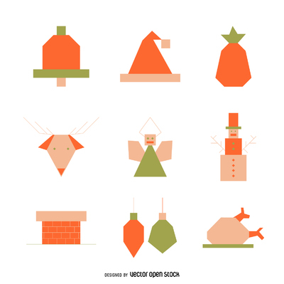 Christmas elements icon set