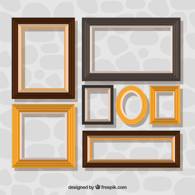 Collection of decorative frames in flat design
