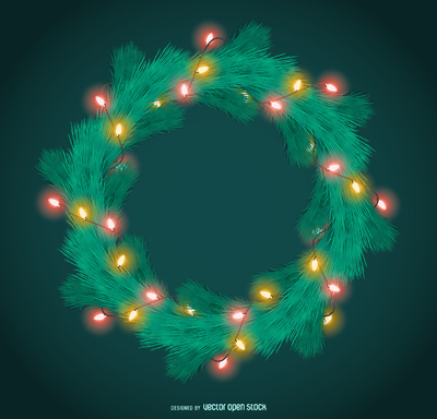 Christmas garland with lights frame