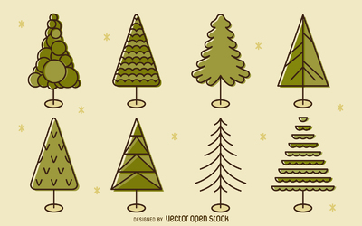 Flat stroke tree illustration set