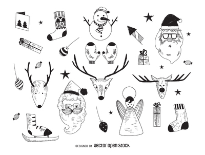Drawn Christmas elements collection