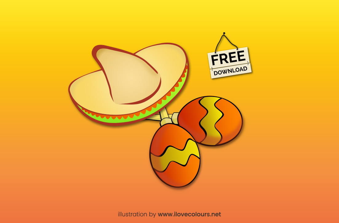 Sombrero and maracas illustration - vector graphic - free download