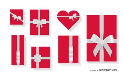 Flat gift box illustration set