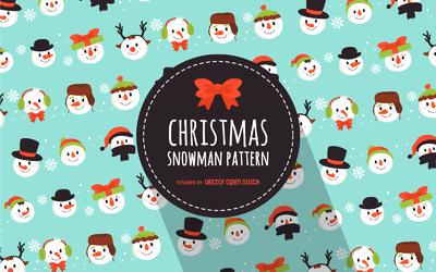 Flat Christmas snowmen pattern