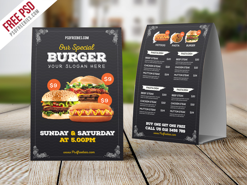 Fast Food Menu Table Tent Template Free PSD
