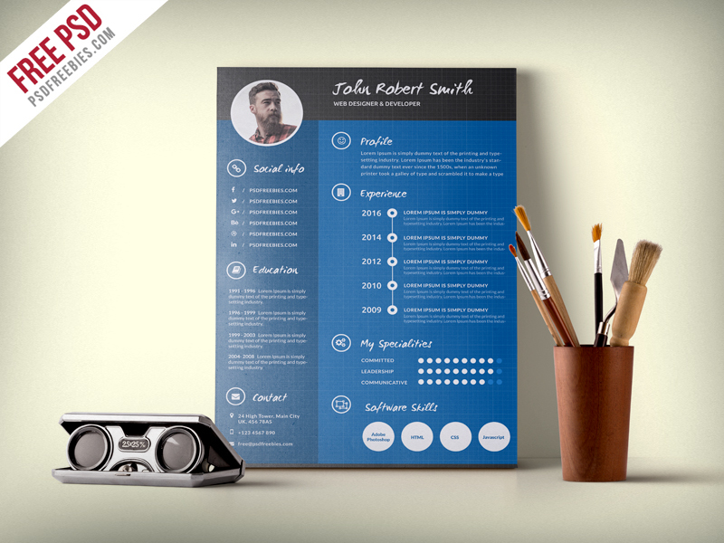 11psd50ferret creative and professional resume cv free psd template yelopaper Images