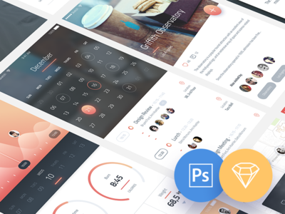 Phoenix UI: Vol 1 - for iPhone 6 / Free PSD & Sketch