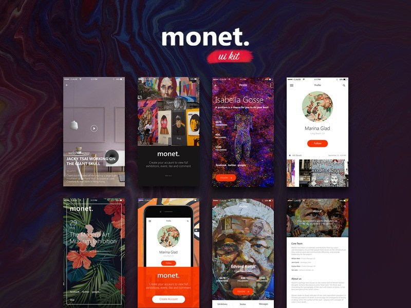 Monet : iOS Mobile UI kit