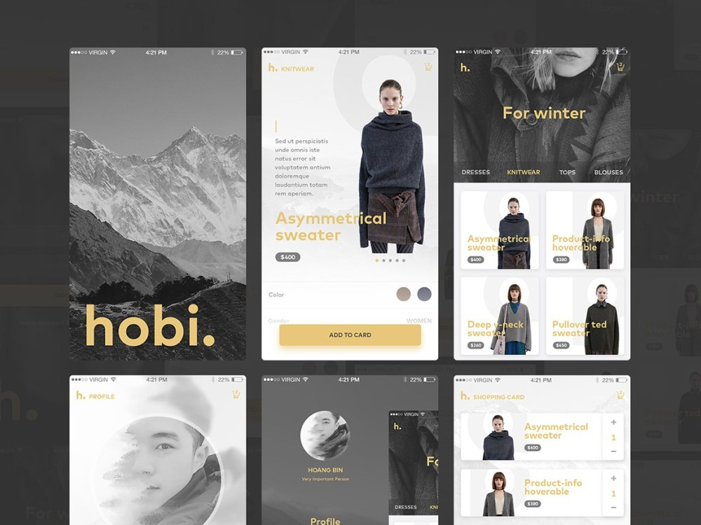 Fashion App UI Kit PSD