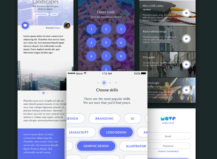 Move | Mobile UI Kit. Free iOS screens for Sketch.