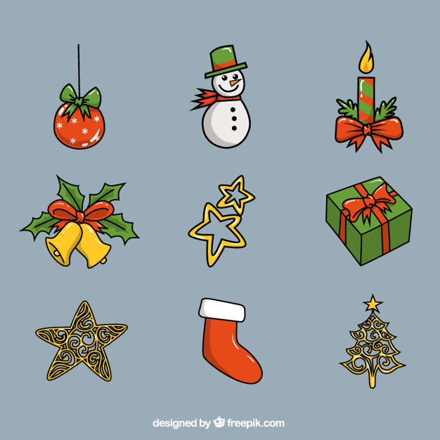 Selection of shiny christmas objects