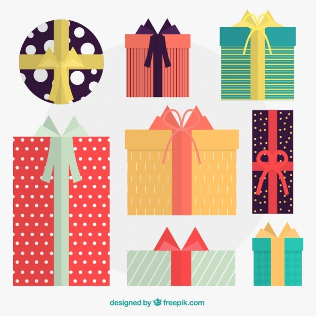 Fantastic pack of christmas gifts with colorful ribbons