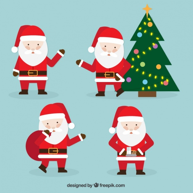 Set of four santa claus for christmas celebration