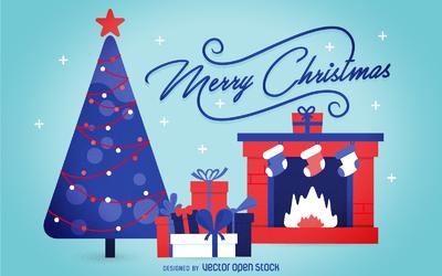 Flat Christmas background card