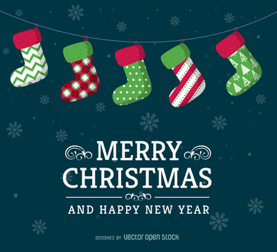 Christmas stockings card design