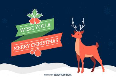 Christmas reindeer card illustration