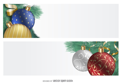 3D ornament Christmas banner set