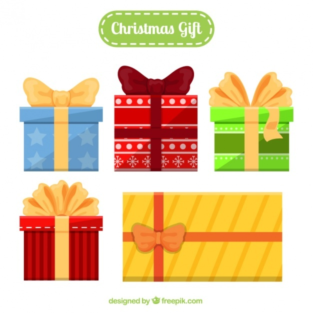 Flat christmas gifts with different sizes and designs