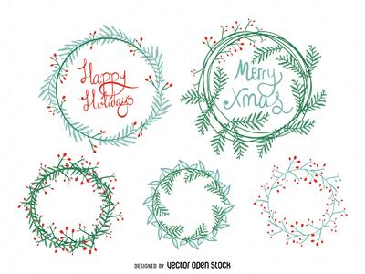 Hand drawn Christmas wreath set