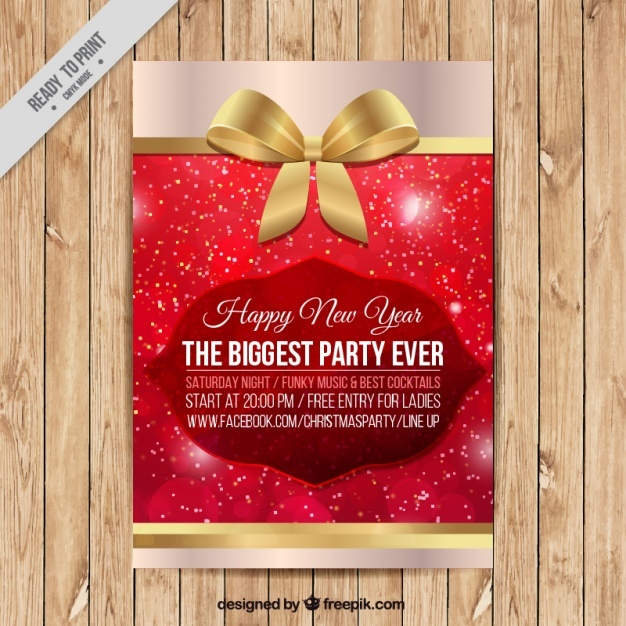 Fantastic christmas brochure with golden bow