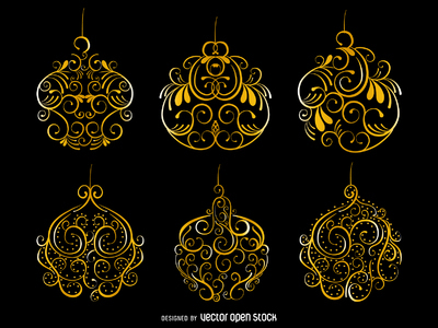 Golden swirls Christmas ornament set