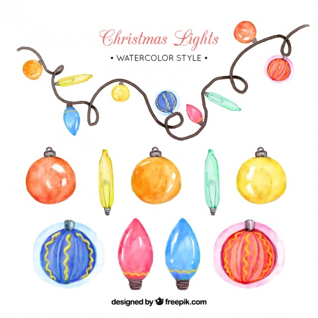 Pack of watercolor baubles and lights
