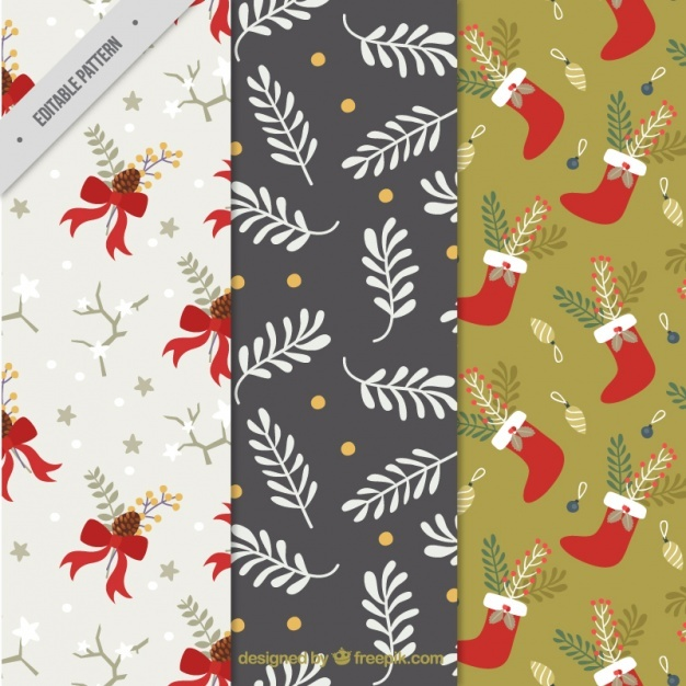 Christmas patterns with floral decoration and objects
