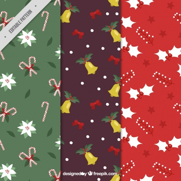 Great hand-drawn patterns with different christmas objects