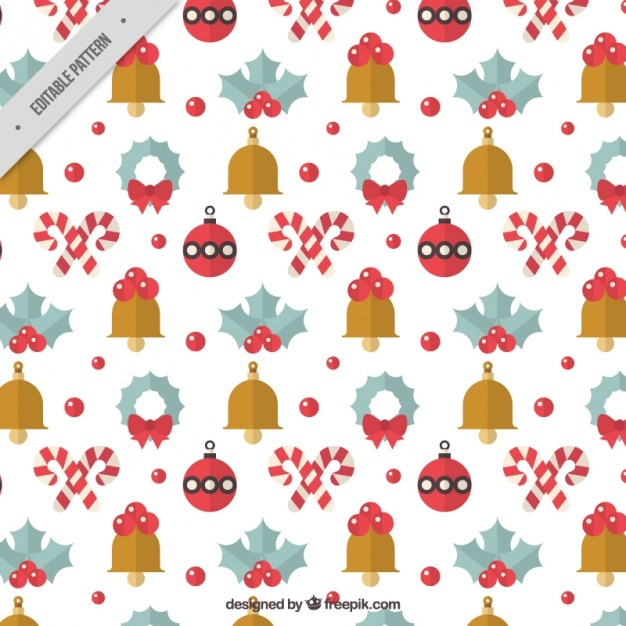 Christmas pattern with bells and balls