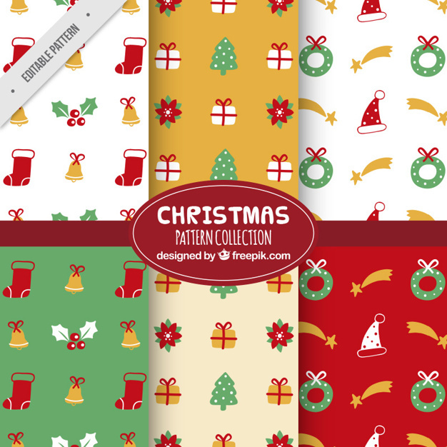Colorful christmas patterns with decorative items