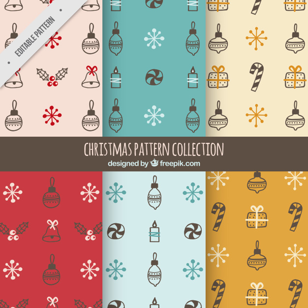 Great patterns with hand-drawn christmas objects
