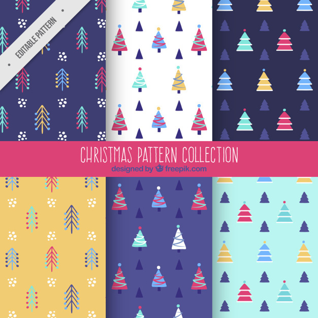 Set of flat patterns with christmas trees