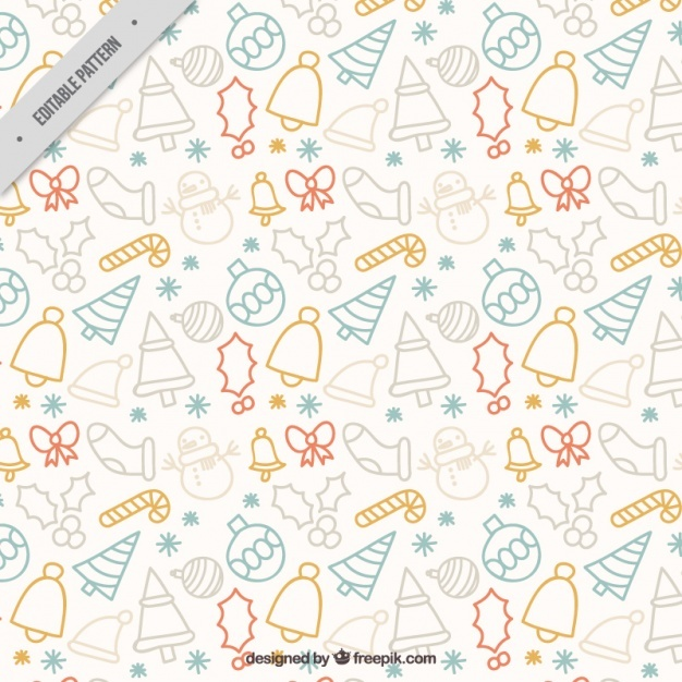 Cute pattern with christmas hand drawn elements