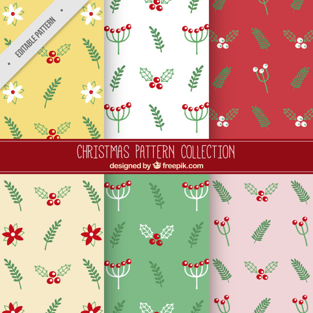 Floral patterns with green leaves for christmas