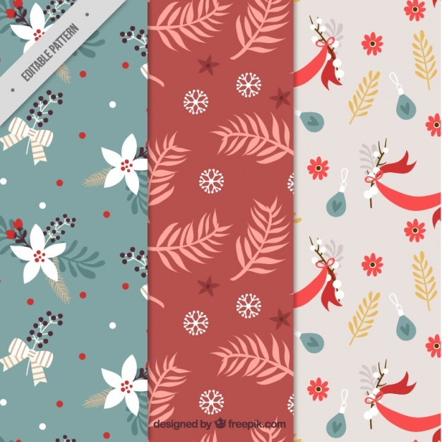 Christmas patterns with bows and flowers