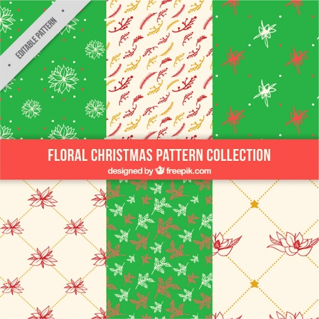 Set of christmas patterns with floral elements
