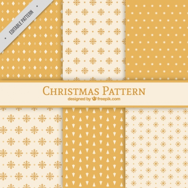 Christmas patterns with snowflakes and geometric shapes