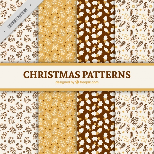 Four christmas floral patterns