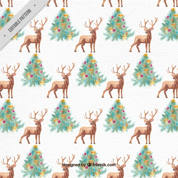 Watercolor christmas pattern with deers