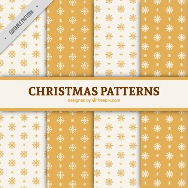 Eight christmas patterns with snowflakes