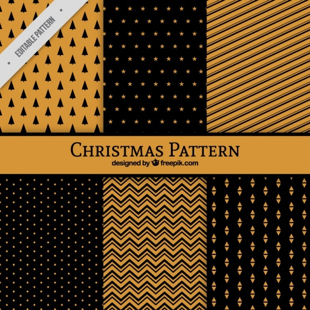 Six geometric patterns for christmas