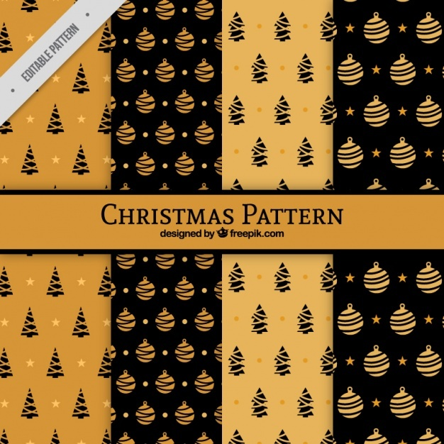 Black and orange christmas patterns