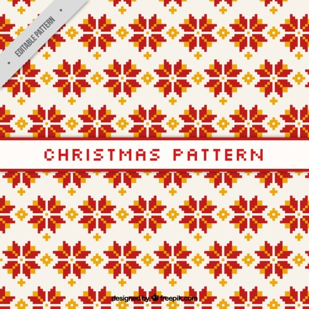 Christmas pattern with geometric flowers